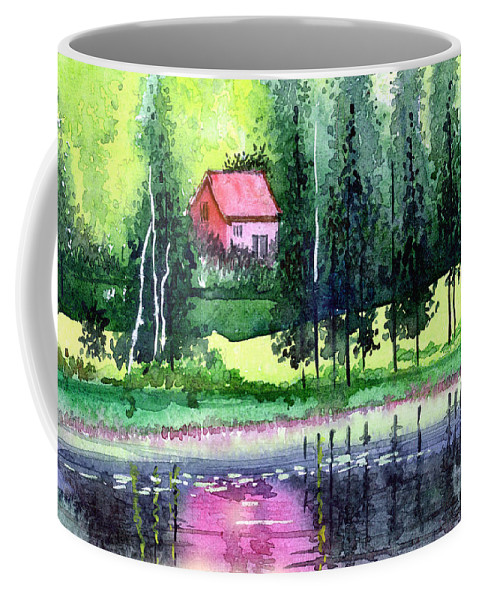Landscape Coffee Mug featuring the painting Guest House by Anil Nene
