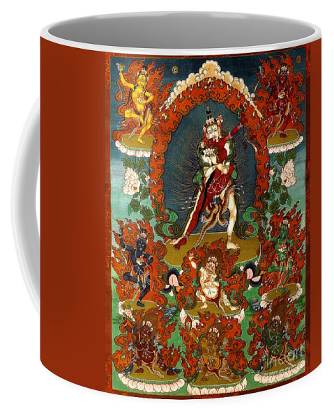 Guhya Coffee Mug featuring the painting Guhya Sadhana Avalokiteshvara Gyalwa Gyatso by Sergey Noskov
