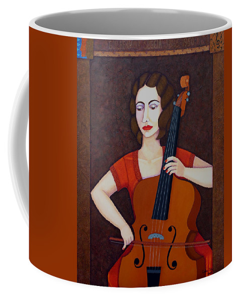 Guilhermina Suggia Coffee Mug featuring the painting Guilhermina Suggia - Woman Cellist Of Fire by Madalena Lobao-Tello