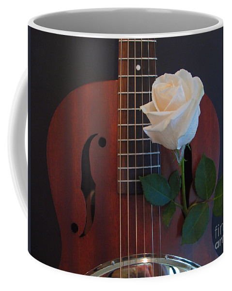 Wall Art Coffee Mug featuring the photograph Guitar And Rose 2 by Kelly Holm