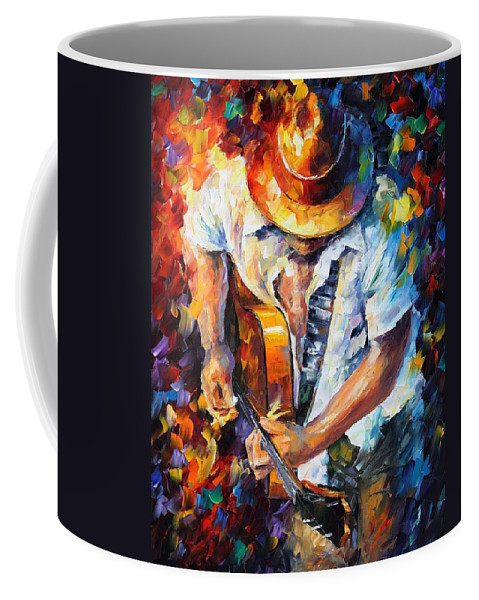 Afremov Coffee Mug featuring the painting Guitar And Soul by Leonid Afremov