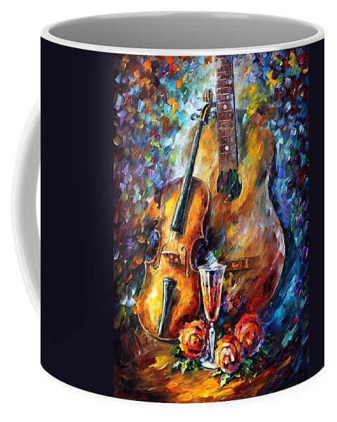 Afremov Coffee Mug featuring the painting Guitar And Violin by Leonid Afremov