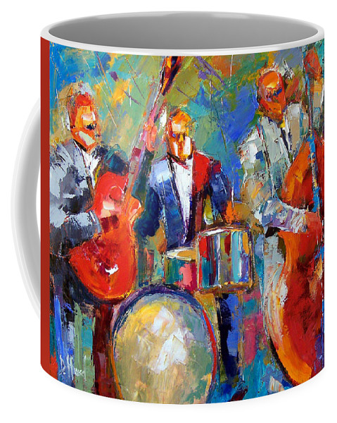 Jazz Painting Coffee Mug featuring the painting Guitar Drums And Bass by Debra Hurd