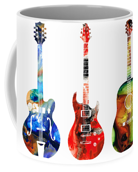 Guitar Coffee Mug featuring the painting Guitar Threesome - Colorful Guitars By Sharon Cummings by Sharon Cummings