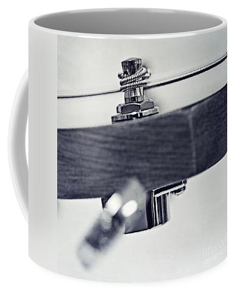 Black Coffee Mug featuring the photograph guitar V by Priska Wettstein
