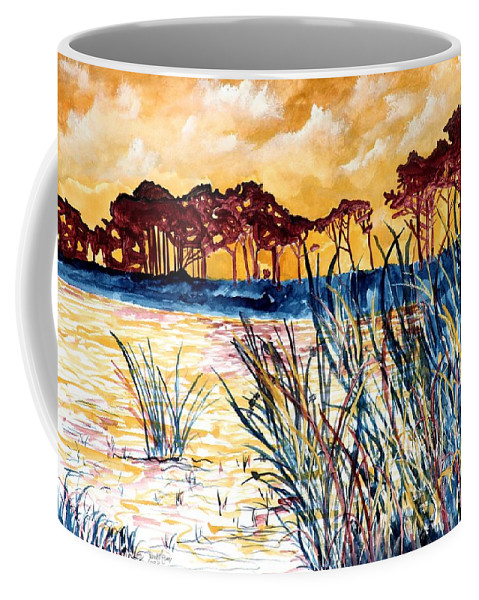 Gulf Coast Coffee Mug featuring the painting Gulf coast seascape tropical art print by Derek Mccrea