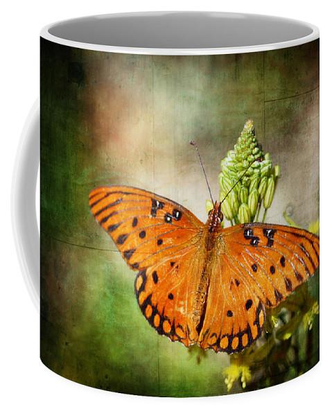 Gulf Fritillary Butterfly Coffee Mug featuring the photograph Gulf Fritillary by Saija Lehtonen