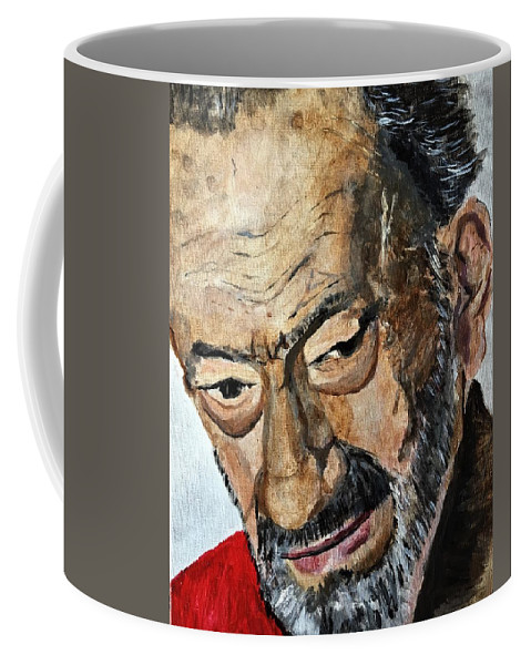 Man Coffee Mug featuring the painting Gus, May He R.i.p. by Julie Wittwer