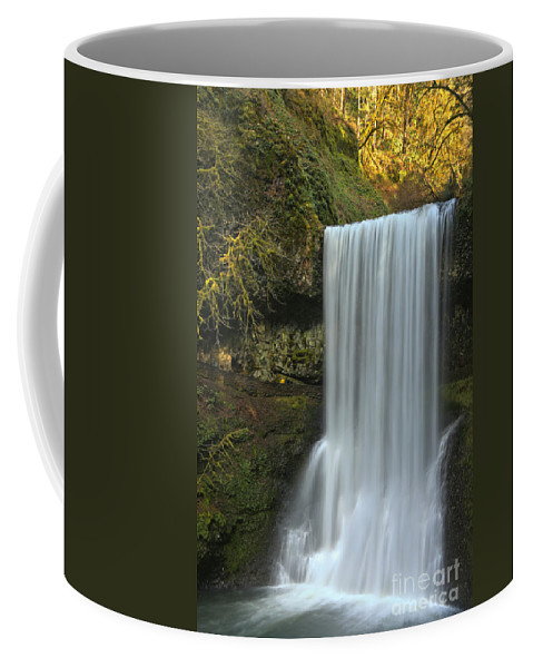 Silver Falls State Park Coffee Mug featuring the photograph Gushing At Silver Falls by Adam Jewell