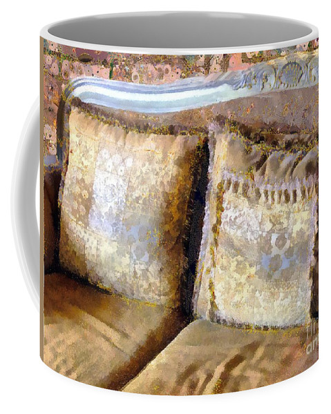 Antique Coffee Mug featuring the painting Gustav's Couch by RC DeWinter