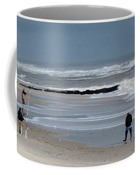 Men Coffee Mug featuring the photograph Guys Fishing by Lori Tambakis