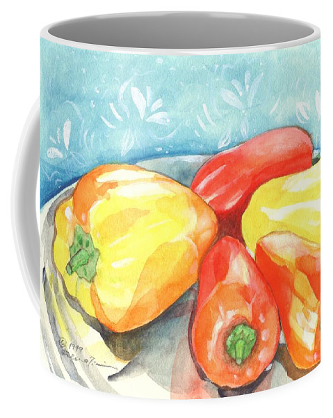 Gypsy Pepper Coffee Mug featuring the painting Gypsy Peppers by Helena Tiainen