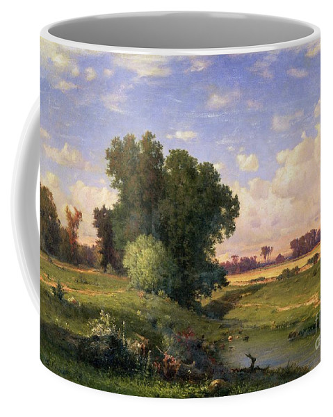 Meadow; Landscape; River; Stream; Field; Fields; Tree; Trees; Hudson River School; Rustic; Countryside; Farmhouse; Path; Riverbank; Riverside; New Jersey; Landscapes Coffee Mug featuring the painting Hackensack Meadows - Sunset by George Snr Inness