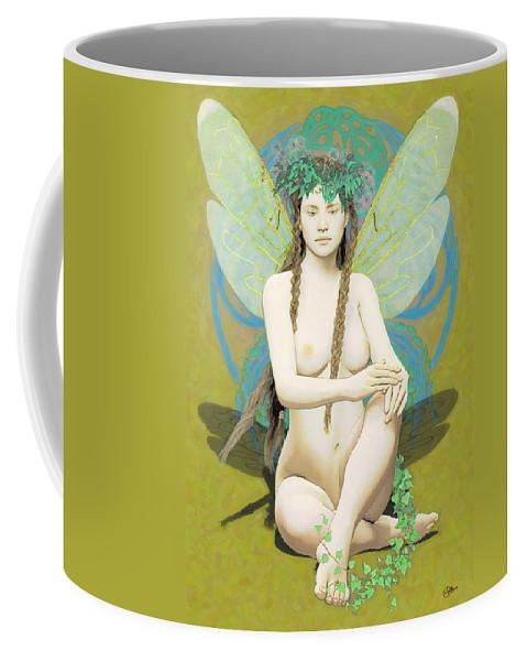 Fairy Coffee Mug featuring the painting Hada Amarilla by Quim Abella