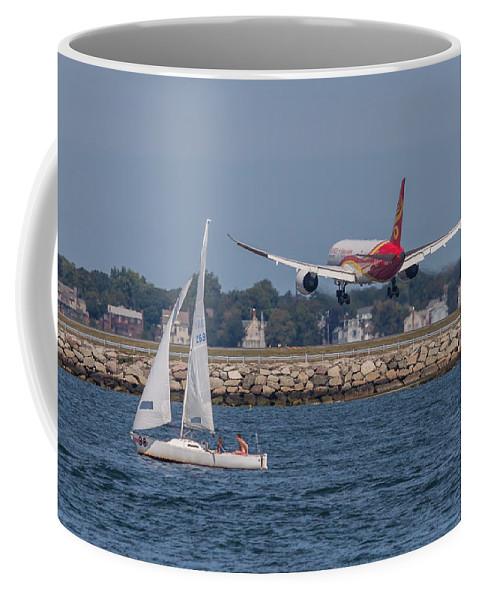 Airplane Coffee Mug featuring the photograph Hainan Airlines 787 Dreamliner Landing At Logan by Brian MacLean