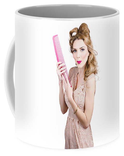 Hairdressing Coffee Mug featuring the photograph Hair Style Model. Pinup Girl With Large Pink Comb by Jorgo Photography - Wall Art Gallery