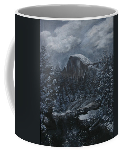 Yosemite Coffee Mug featuring the painting Half Dome Black And White by Travis Day