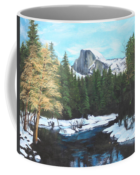 Lkandscape Coffee Mug featuring the painting Half Dome Snow by Travis Day