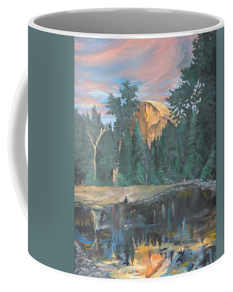 Sunset Coffee Mug featuring the painting Half Dome Sunset by Travis Day