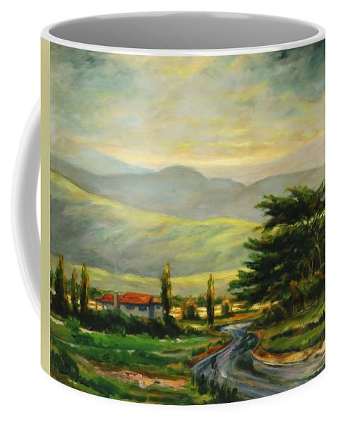 Trees Coffee Mug featuring the painting Half Moon Bay by Rick Nederlof