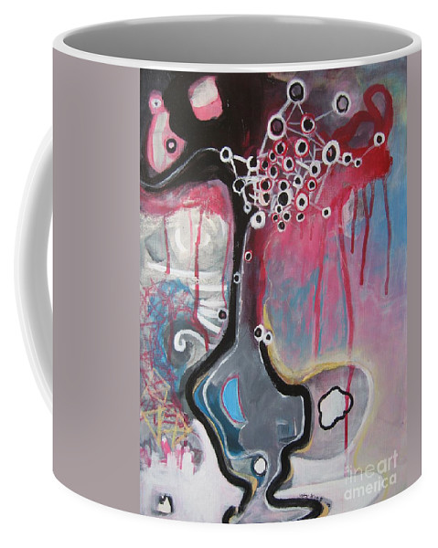 Abstract Paintings Coffee Mug featuring the painting Half Moon On Vase by Seon-Jeong Kim