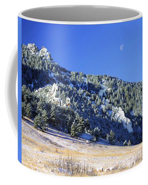 Nature Coffee Mug featuring the photograph Half Moon Over The Flatirons by Marilyn Hunt