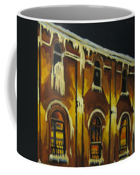 Urban Landscapes Coffee Mug featuring the painting Halifax Ale House In Ice by John Malone