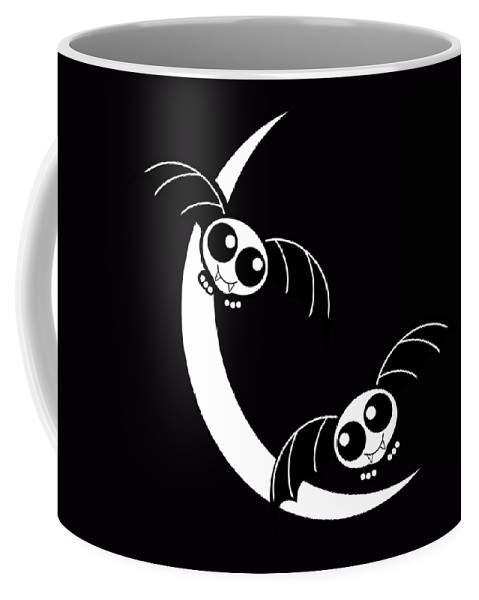 Halloween Coffee Mug featuring the mixed media Halloween Bats And Crescent Moon by Gravityx9 Designs