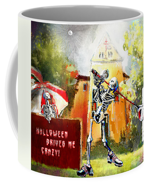 Fun Coffee Mug featuring the painting Halloween Drives Me Crazy by Miki De Goodaboom