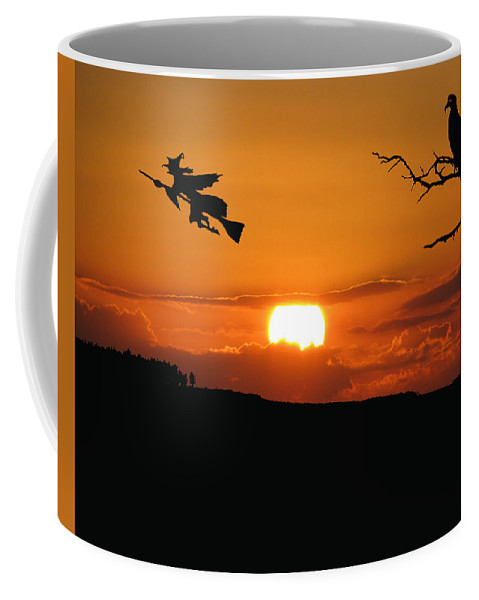 Halloween Cards Coffee Mug featuring the photograph Halloween Eve She Rides by Adele Moscaritolo