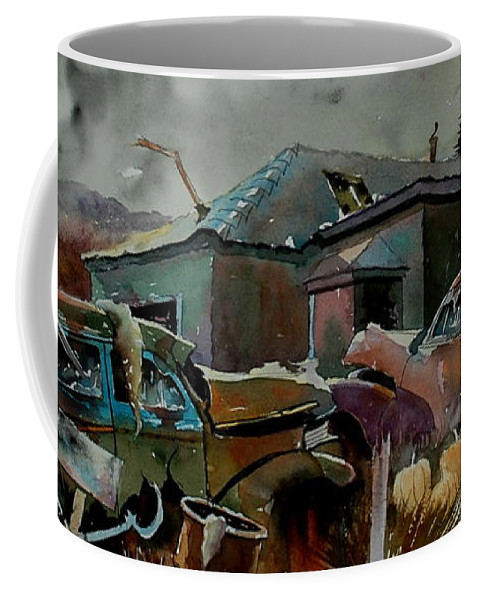 Cars Coffee Mug featuring the painting Halloween On The Hill by Ron Morrison