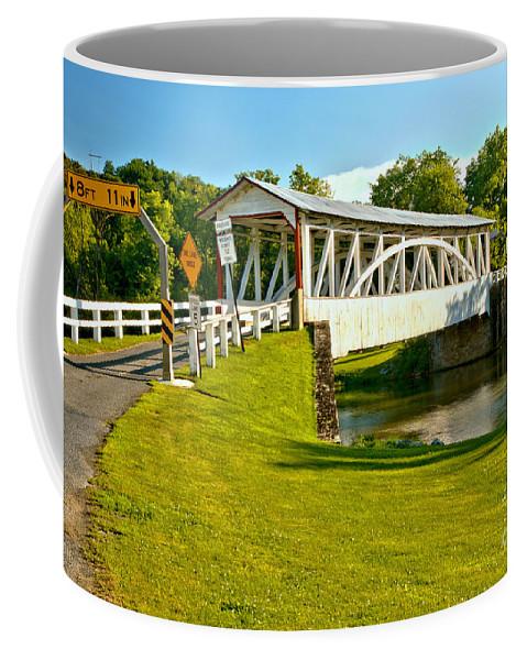 Halls Mill Covered Bridge Coffee Mug featuring the photograph Halls Mill Covered Bridge Landscape by Adam Jewell