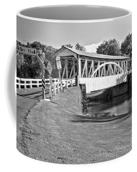 Halls Mill Covered Bridge Coffee Mug featuring the photograph Halls Mill Covered Bridge Landscape Black And White by Adam Jewell