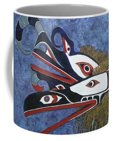 North West Native Coffee Mug featuring the painting Hamatsa Masks by Elaine Booth-Kallweit
