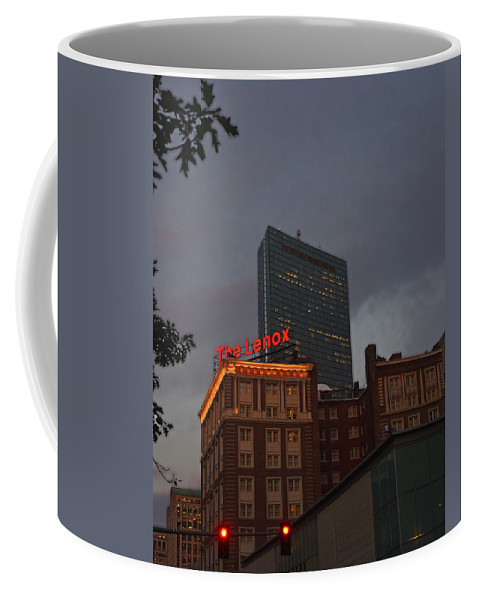 Boston Coffee Mug featuring the photograph Hancock Over The Lenox Boston, Ma by Toby McGuire