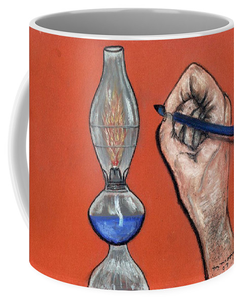 Lamp Coffee Mug featuring the pastel Hand Drawing Lamp by Melvin Moon