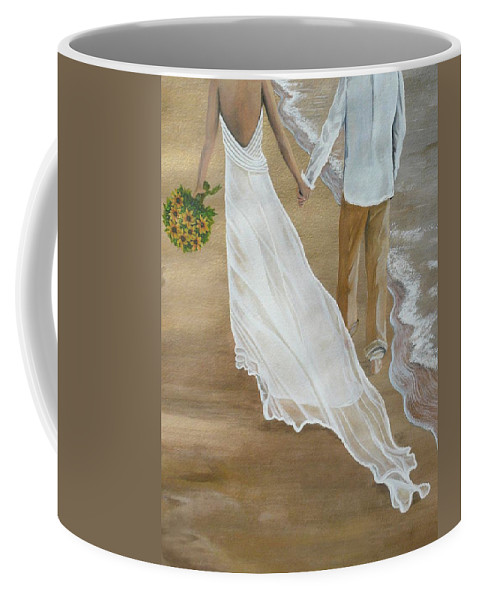 Bride And Groom Coffee Mug featuring the painting Hand In Hand by Kris Crollard