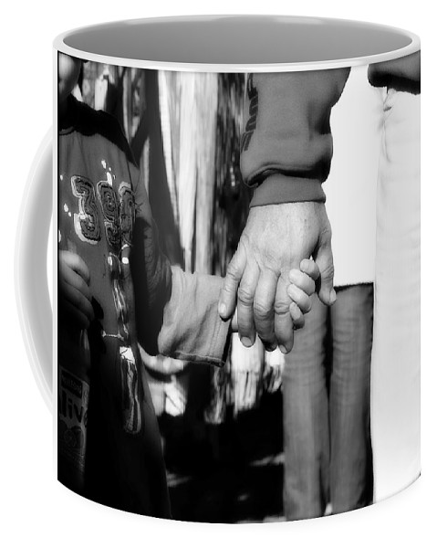 Black And White Coffee Mug featuring the photograph Hand In Hand by Totally Talliesen