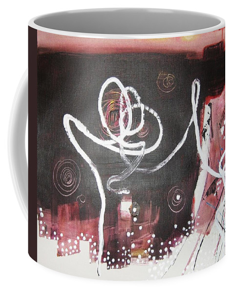 Abstract Paintings Coffee Mug featuring the painting Hand In Hand2 by Seon-Jeong Kim