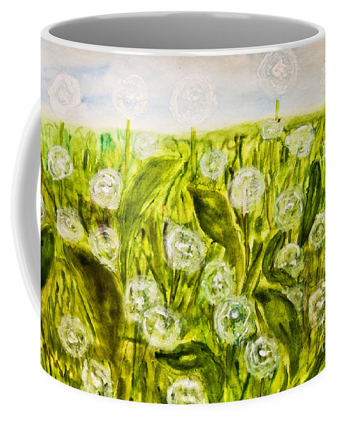 Art Coffee Mug featuring the painting Hand Painted Picture, Meadow With White Dandelines by Irina Afonskaya
