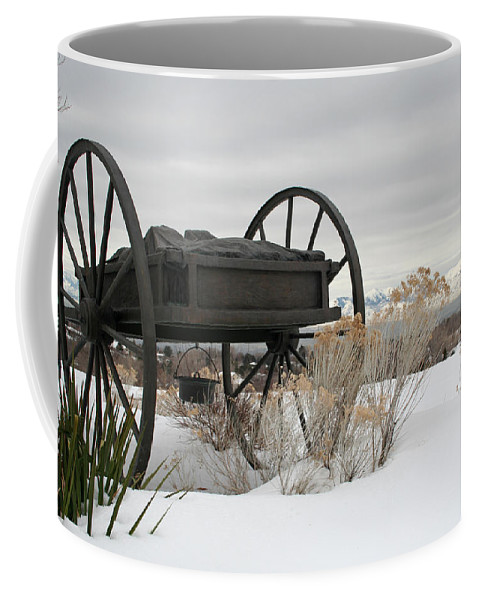 Handcart Coffee Mug featuring the photograph Handcart Monument by Margie Wildblood