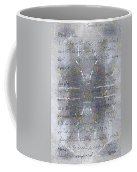 Blue Coffee Mug featuring the painting Handmade Paper Never Sent by RC DeWinter