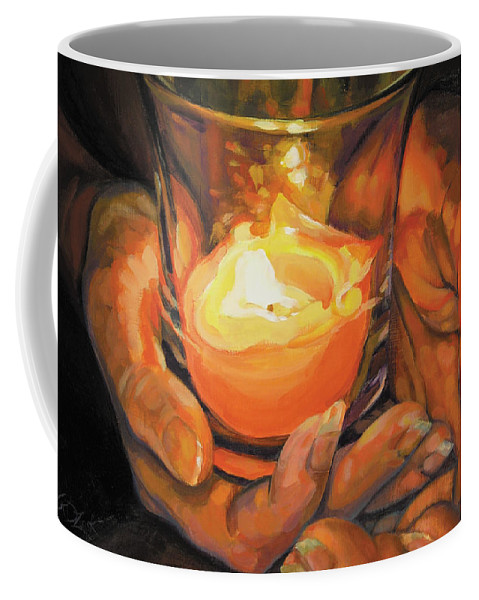 Hands Coffee Mug featuring the painting Hands By Candlelight by Rebecca Zook