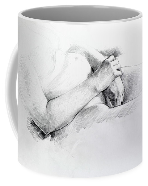 Life Coffee Mug featuring the drawing Hands by Harry Robertson