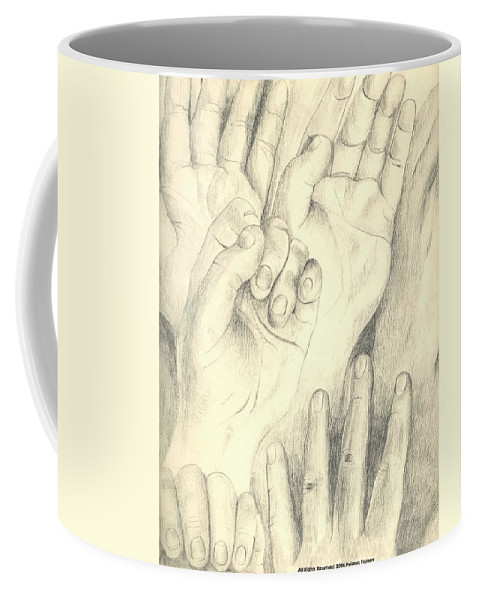 Hands Coffee Mug featuring the drawing Hands by Helena Tiainen