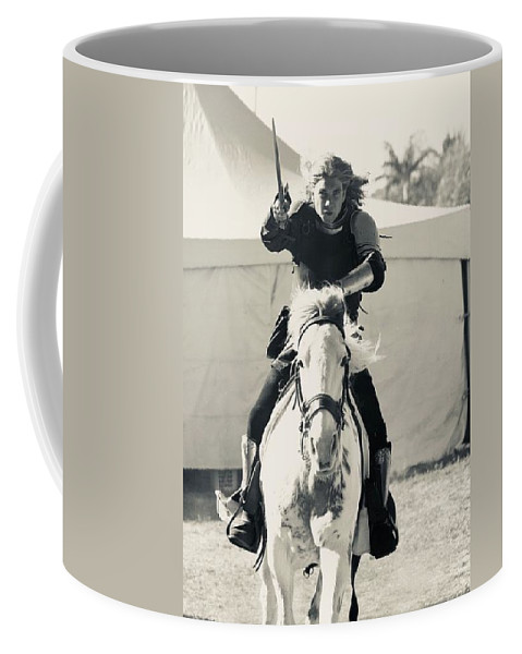 Horse Coffee Mug featuring the photograph Handsome Knight Riding His Horse by Debra K Gallagher