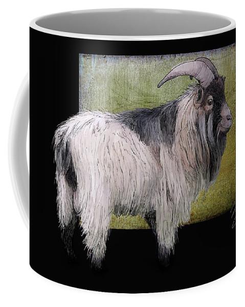 Agriculture Coffee Mug featuring the digital art Handsome Pygmy Goat by Debra Baldwin