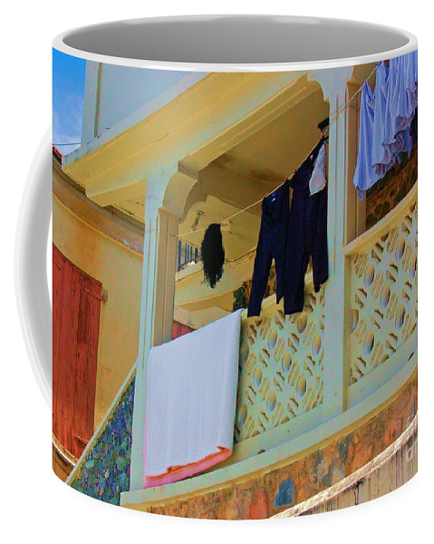 Laundry Coffee Mug featuring the photograph Hang Em High by Debbi Granruth