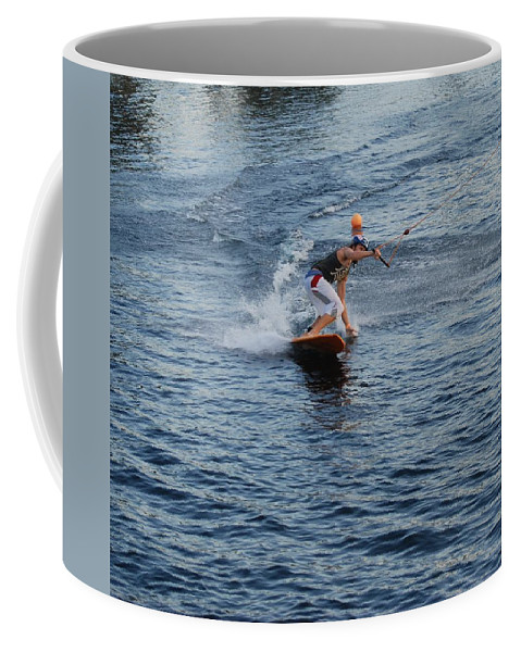 Waves Coffee Mug featuring the photograph Hanging 15 by Rob Hans