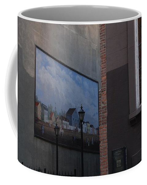 Street Scene Coffee Mug featuring the photograph Hanging Art In N Y C by Rob Hans